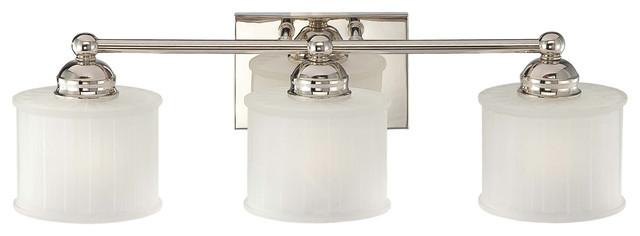 1730 Series 3-Light Bath Vanity Polished Nickel Etched-Box Pleat Glass