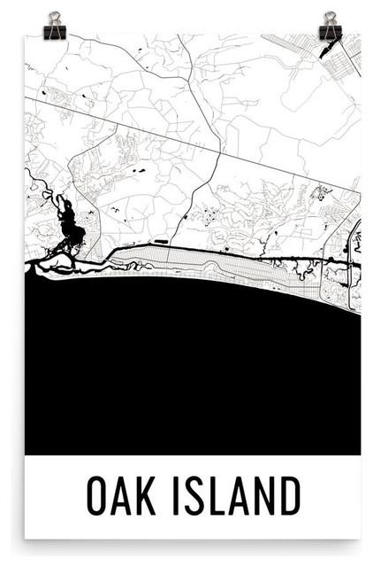 Oak Island Nc Map Art Print Poster Wall Art Modern