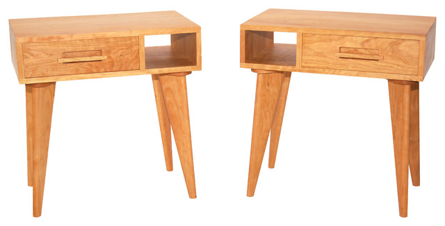 Modern Side Table, Cherry, Left Table midcentury-nightstands-and-bedside- - Modern Side Table - Midcentury - Nightstands And Bedside Tables