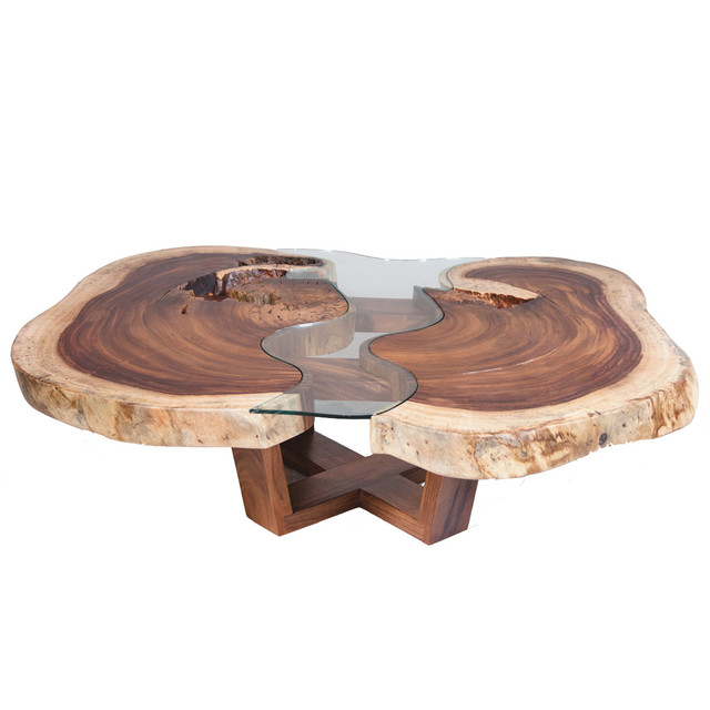 Live Edge Coffee Table With Glass Rustic Coffee Tables By REZ - Houzz glass coffee table