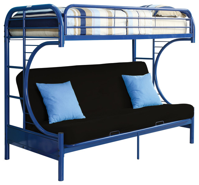 Cabot Extra Long Twin Over Queen Futon Bunk Bed Blue Contemporary Beds