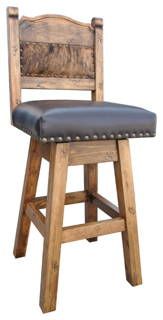 Hacienda Swivel Bar Stool With Cowhide Southwestern