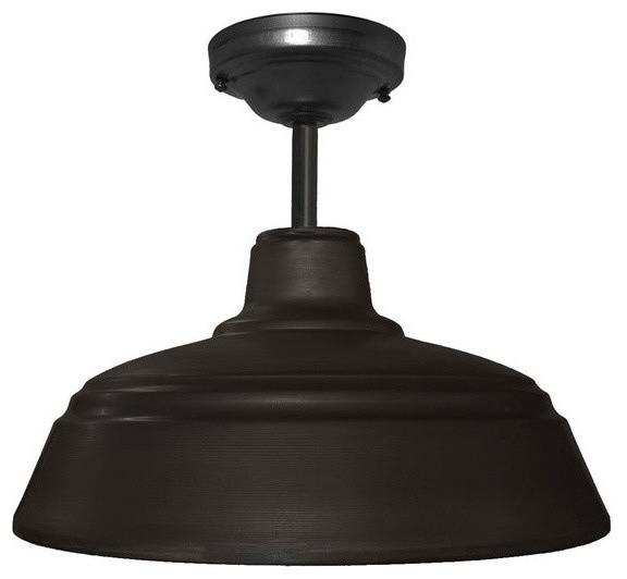 Metal Farmhouse 14 Black Downrod Pendant Light No Bulb