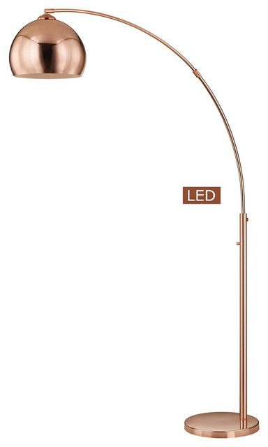 Alrigo 80 Led Arched Floor Lamp With Dimmer, Rose Copper.
