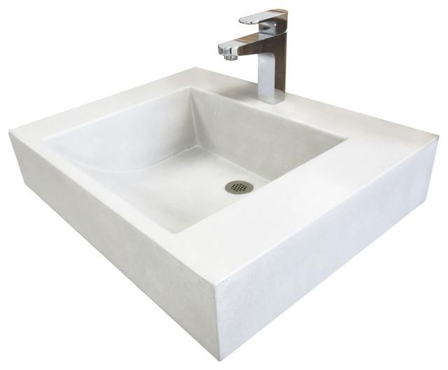 24 Ada Floating Cado Concrete Bathroom Sink, White Linen, No Hole.