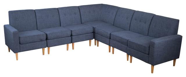 Samuel Mid Century Modern 7-Piece Fabric Sectional Sofa Set, Dark Blue.