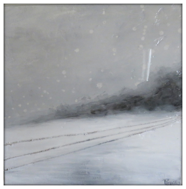 Abstract Winter Landscape Original Painting On Canvas