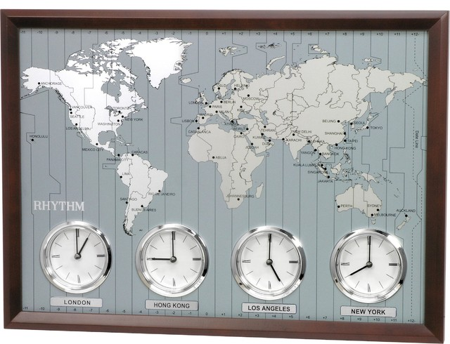 Around The World Ii Time Zone Wall Clock Contemporary