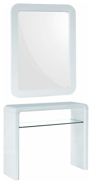 White Modern Vanity Console Table And Mirror 2 Piece Set