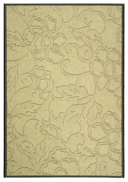Safavieh Courtyard Sand Black Country And Floral Rug