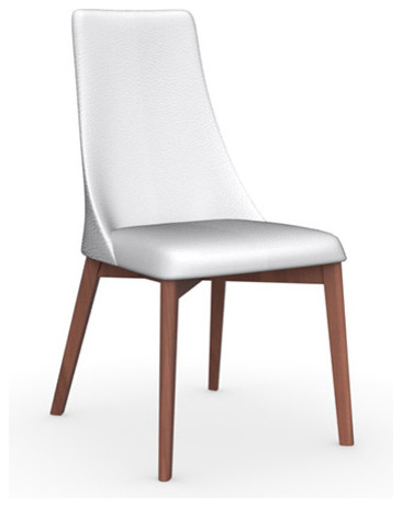 etoile leather chair walnut legs optic white seat set of 2 modern