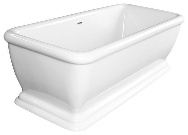"Florence 69"" Rectangular Acrylic Freestanding Bathtub, White."