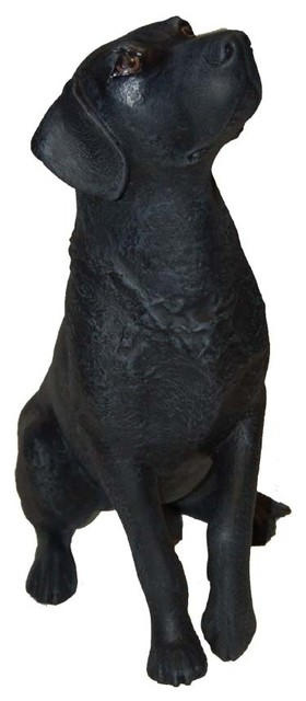 Wonderful Hand Painted Labrador Statue Traditional Garden Statues And Yard Art