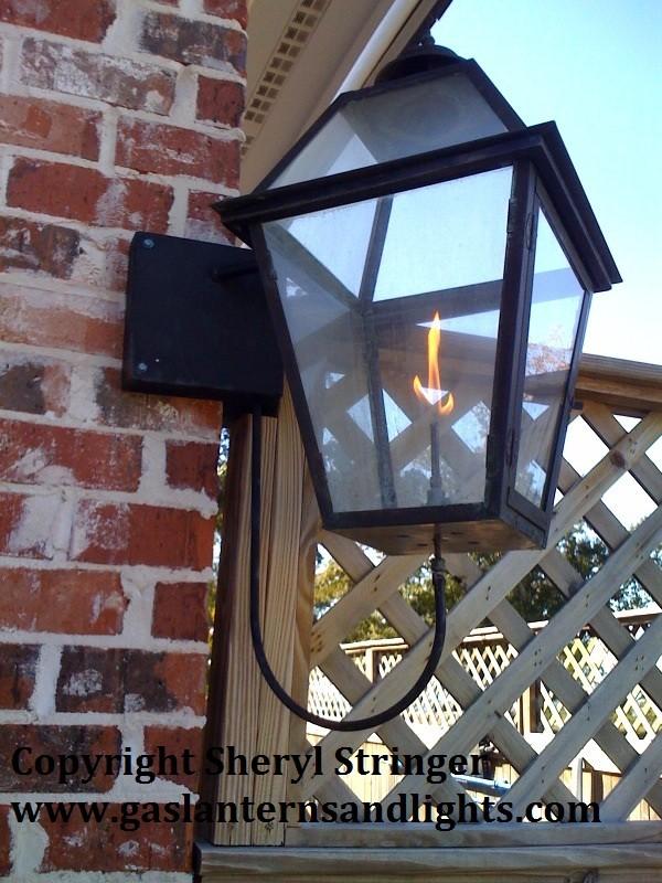 Sheryl's Style 1 Gas Lantern with Glass Top on Corner Bracket
