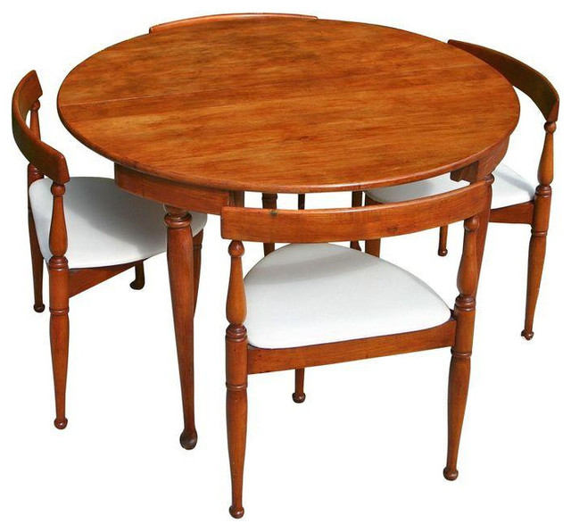 Bon Mid Century Modern Game Table And Four Chairs