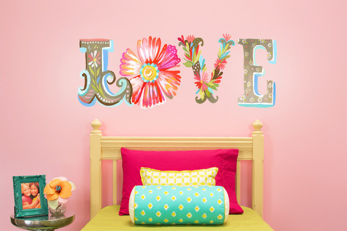 Floral Love Wall Decal Wall Decal Canvas Art By Katie Daisy Contemporary Kids Wall Decor By Oopsy Daisy Fine Art For Kids Houzz