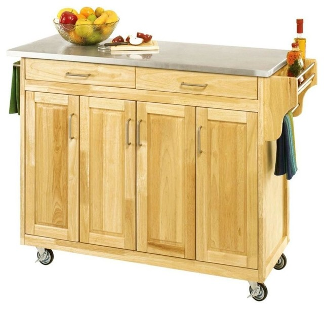 Stainless Steel Top Wooden Kitchen Cart