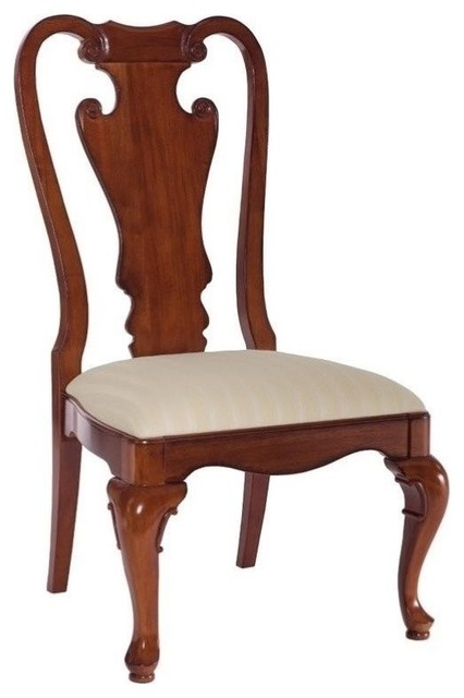 American Drew Splat Back Wood Dining Chairs, Antique Cherry, Set Of 2.