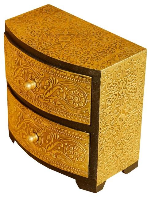Golden Wood U0026 Brass 2 Drawer Vanity Jewelry, Keepsake Box  Mediterranean Jewelry Boxes
