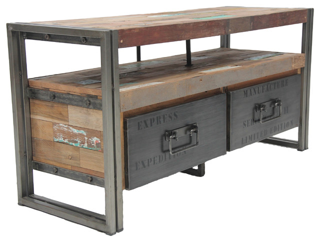 Salvaged Boat Wood Tv Console With 2 Drawers Samudra Style