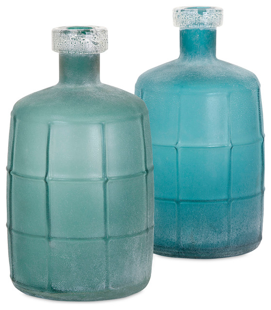 Ella Elaine Frosted Glass Jugs, Set of 2