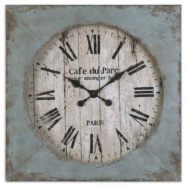 Paron Square Wall Clock Rustic Clocks By Florida Living And Lighting