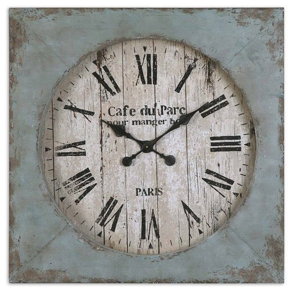 French Country Wall Clock Light Blue Aged Distressed Square