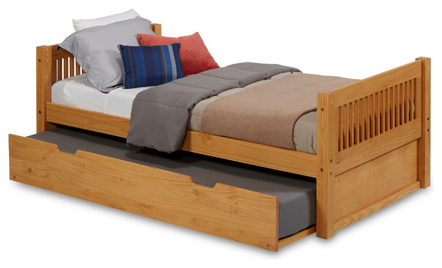 Camaflexi Twin Platform Bed With Twin Trundle, Mission Headboard, Natural Finish.