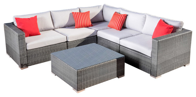 Francisco 6-Piece Outdoor Wicker Sectional Set Gray contemporary-patio -furniture-  sc 1 st  Houzz : patio sectional sale - Sectionals, Sofas & Couches