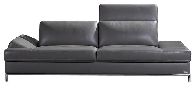 Divani Casa Izzy Modern Dark Grey Leather Sofa