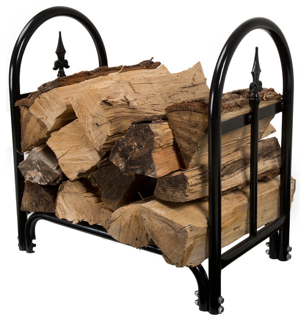 Fireplace Log Rack With Finial Design Contemporary Firewood Racks By Trademark Global