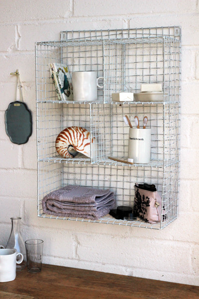 Wall Mounted Wire Storage Shelving Unit - White industrial-display-and-wall-