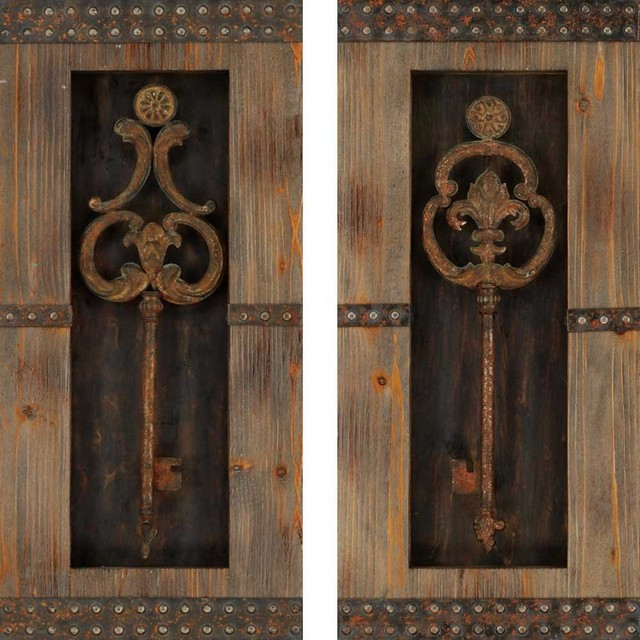 Keys Wall Decor, Set of 2 - Rustic - Wall Accents - by Paragon Decor