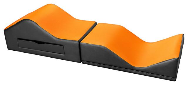 Michael Anthony Furniture X Rocker No Sound Ottoman, Black And Orange  Gaming Cha Contemporary