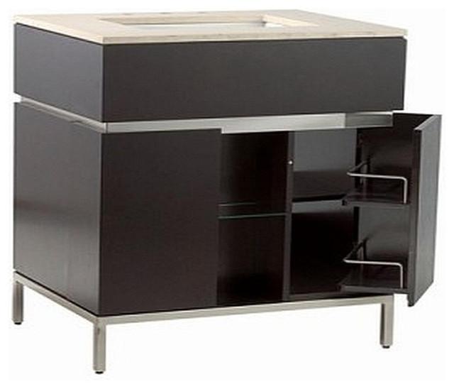 Modern Bathroom Vanity, Espresso With Brushed Nickel Metal ...