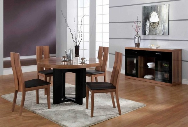 Luxurious Round Wood and Clear Italian Dining Room ...