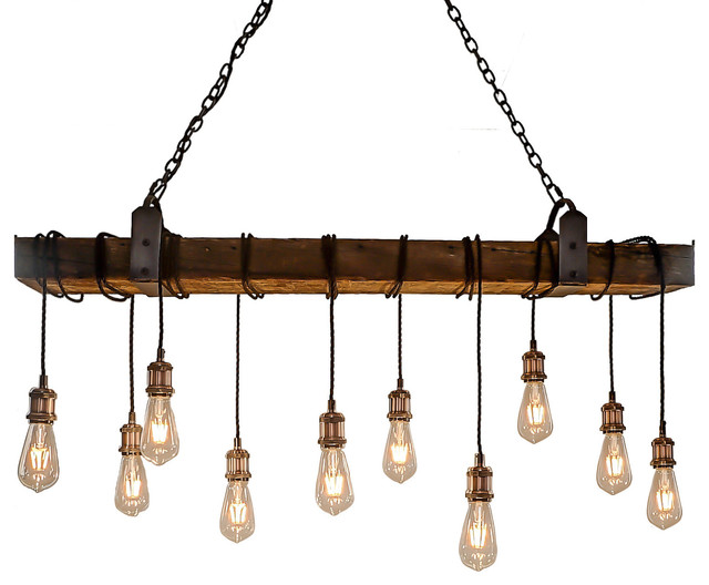 Barn Beam 10 Light Wrapped Chandelier Industrial