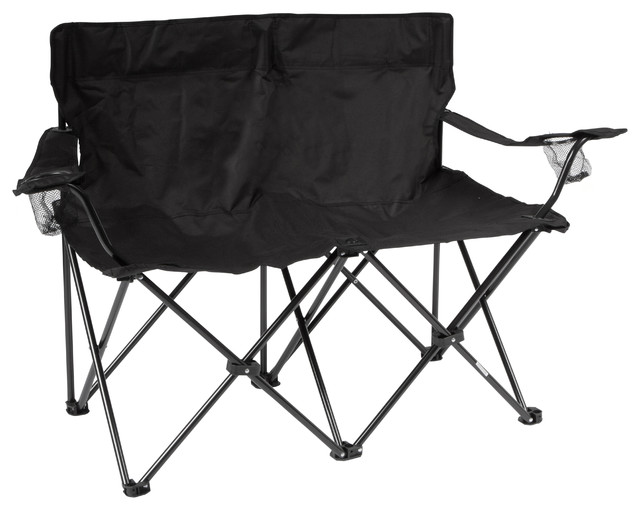 Loveseat Style Double Camp Chair With Steel Frame Contemporary Outdoor Folding Chairs By Trademark Innovations