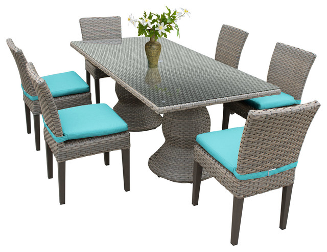 Harmony Outdoor Dining Table With Armless Chairs, 7 Piece Set, Blue