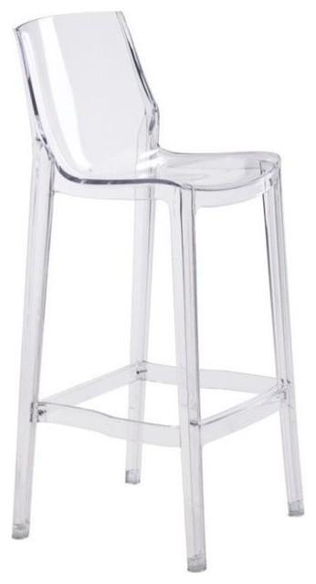 Awe Inspiring Zuo Phantom Modern Bar Chair Clear Creativecarmelina Interior Chair Design Creativecarmelinacom