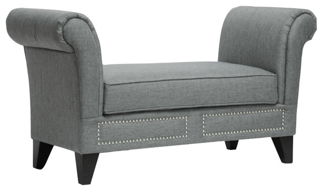 Marsha Gray Linen Modern Scroll Arm Bench, Gray.