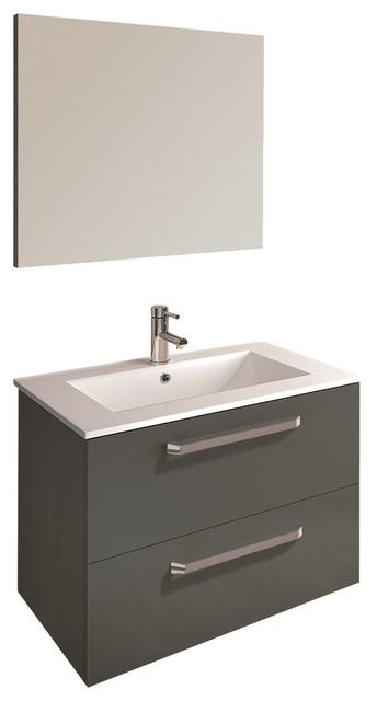 Fresh 2 Drawer Floating Bathroom Vanity Set High Gloss Gray 32 Contemporary Bathroom