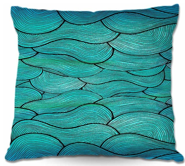 Beach Style Outdoor Cushions : DiaNoche Outdoor Pillows Sea Waves Pattern - Beach Style - Outdoor Cushions And Pillows - by ...