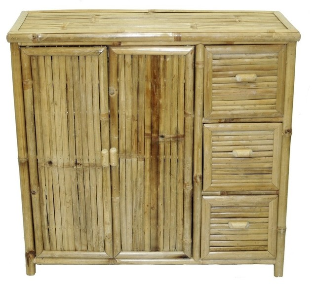 Bamboo Shelf with Drawers - Tropical - Storage Cabinets - by Beyond Stores