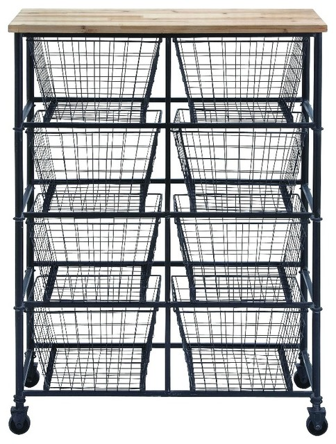 Metal And Wood Mobile Cart Industrial Storage Cabinets