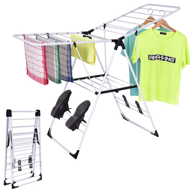 Costway Laundry Clothes Storage Drying Rack Folding Dryer Hanger