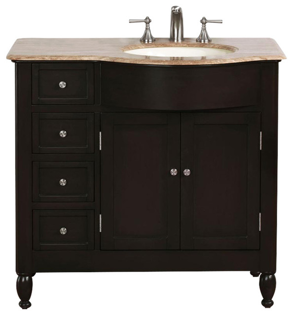 Shop houzz silkroad exclusive truman single sink bathroom vanity travertine top 38 for Single sink consoles bathroom