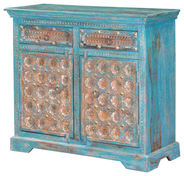 "Sky Blue 35"" Brass Conch Carved Mango Wood Rustic Storage Cabinet."