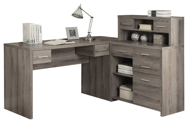 LShape Corner Computer Desk Dark Taupe Contemporary Desks