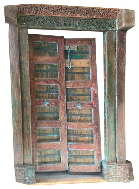 Consigned Antique Double Doors Carved Red Green Reclaimed Solid Frame Teak  Doors - Consigned Antique Double Doors Carved Red Green Reclaimed Solid